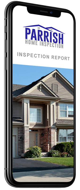 Smartphone showing a Parrish Home Inspection online report
